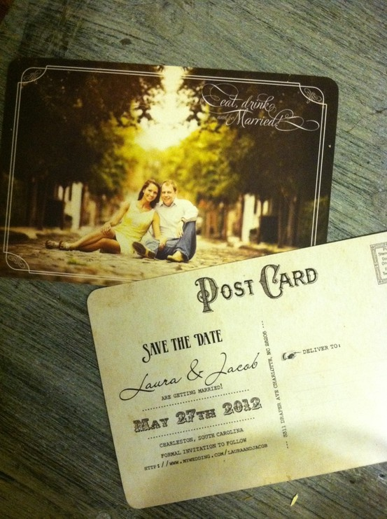 Save The Date post cards -- combine somehow with the pics of couple as little kids??