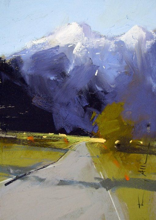 Pastel on sanded paper. Tony Allain Loving his mountains