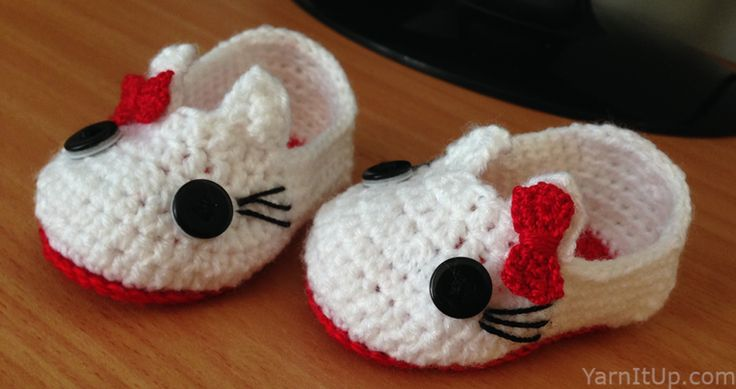 Hello Kitty Booties Free Crochet Patterns Pinterest Babies, Baby ...