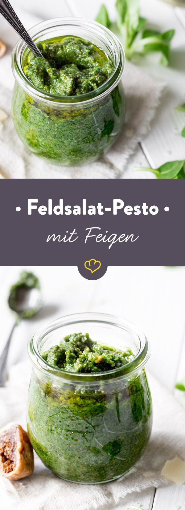 Mit Parmesan und Feigen zu Pesto püriert, zeigt sich frischer Feldsalat nur noch von seiner cremigen Seite zu Pasta, als Brotaufstrich oder in deiner Sauce.