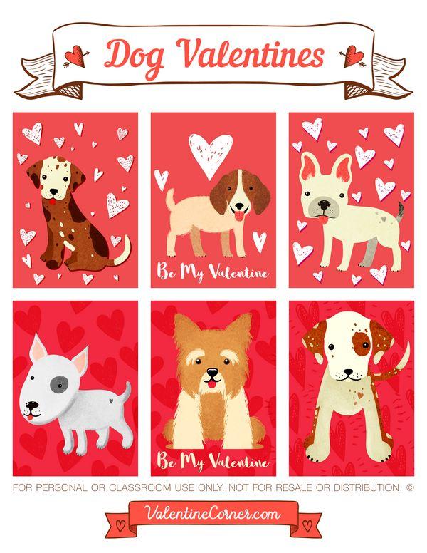 Free printable dog Valentine cards. Download the Valentines in PDF format at http://valentinecorner.com/download/valentines/dog/