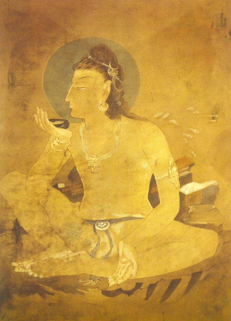 Siva drinking World Poison by Nandalal Bose (Bengali: নন্দলাল বসু) (December 3, 1882 – April 16, 1966) was a noted Indian painter of Bengal school of art. A foremost pupil of Abanindranath Tagore, a pioneer of the school
