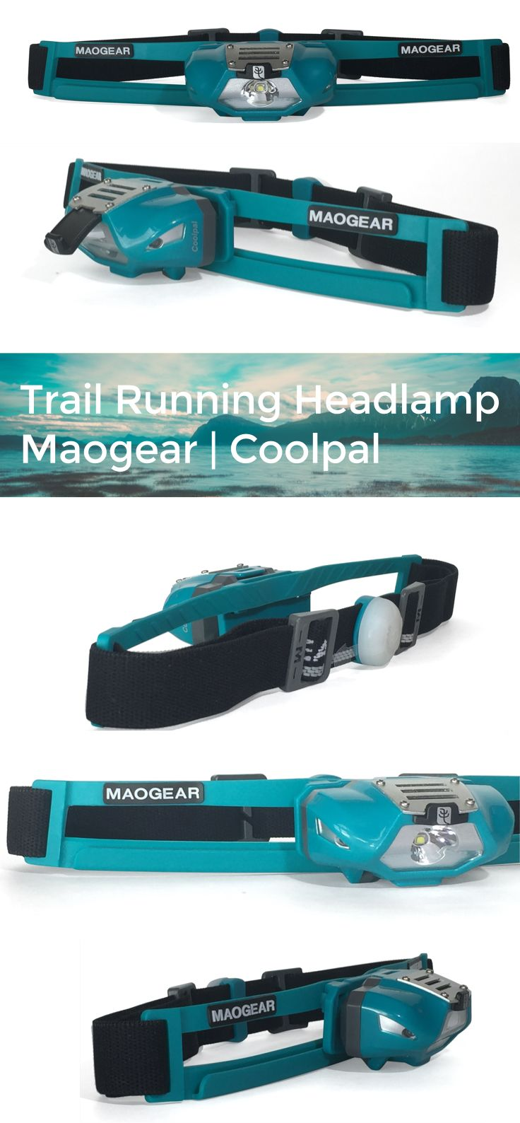 Trail Running Headlamp | 140 Lumens, AAA battery, sweatband, sides and back security flashing red LED.