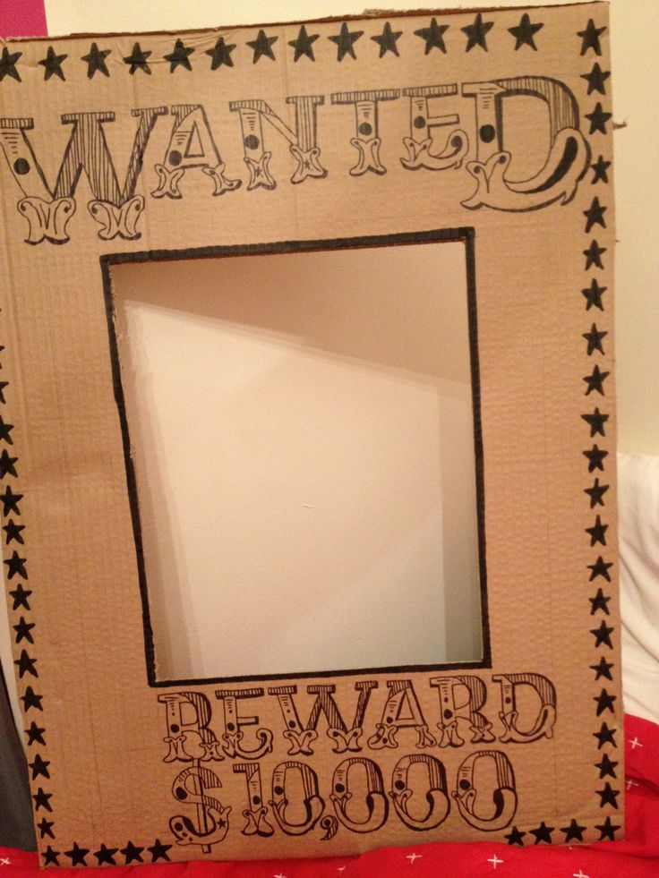 Wanted poster photobooth prop hand drawn by me :)