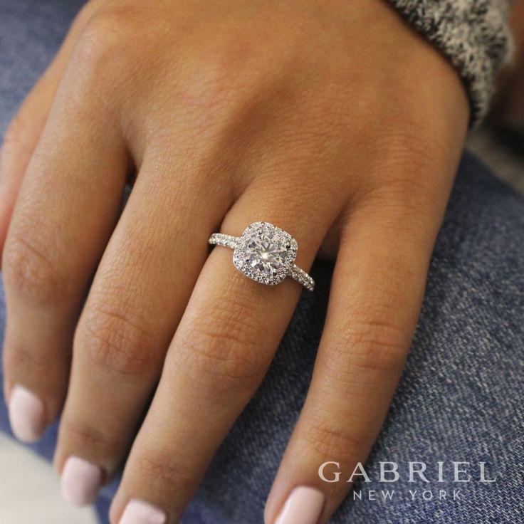 """Gabriel & Co. """"Lyla"""" 14k White Gold Round Halo Semi-Mount ER6872W44JJ"""