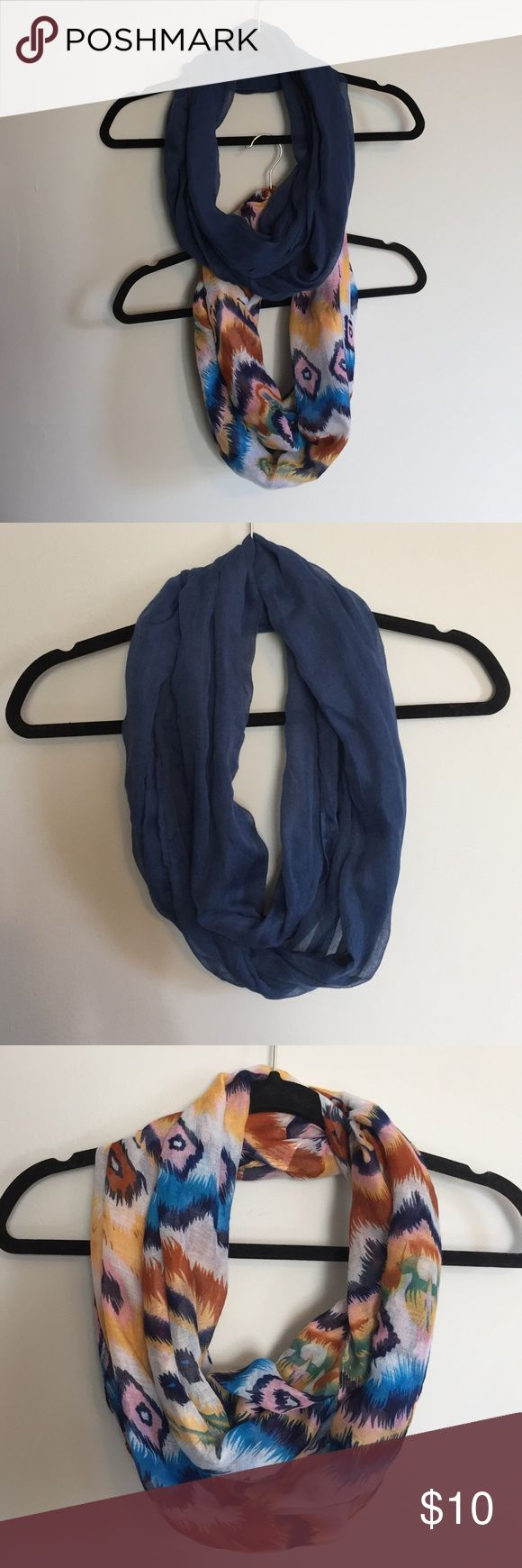 Infinity scarf bundle Two pack infinity scarves. Dark blue and multi color. One size. Accessories Scarves & Wraps