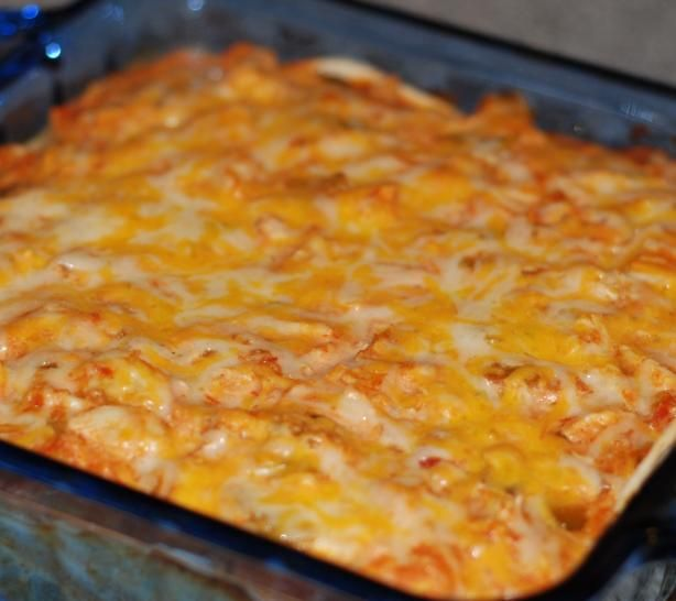 Mexican Lasagna from Food.com: I got this recipe from Robin Miller's Quick Fix Meals. I have made this several times and my husband loves it. And it is so easy to make! I usually just buy Tyson's ready cooked chicken breast strips (two 6oz pkgs) pre-seasoned with southwestern spices. I sometimes use multi-grain flour tortillas, when I can find them in the store.