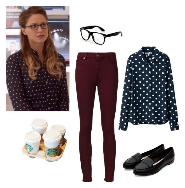 """Kara Danvers"" by rebellious-ingenue ❤ liked on Polyvore featuring mode, Uniqlo, 7 For All Mankind, women's clothing, women, female, woman, misses, juniors en supergirl"