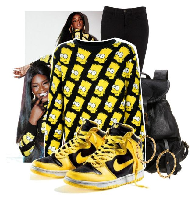 """You can get your man took quicker than your hand shook"" by saraahtakuubaybee ❤ liked on Polyvore featuring J Brand, Jas M.B., Jeremy Scott, NIKE, Gogo Philip, leather backpacks, azealia banks, nike trainers and bart simpson jumper"