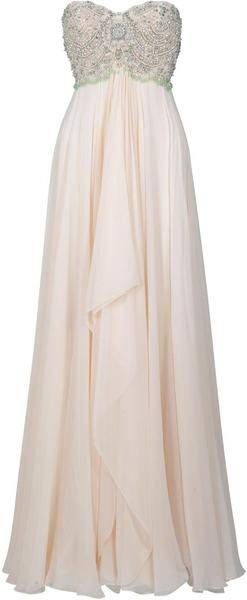 MARCHESA Pearl Beaded Gown-Perfect for a beach wedding :-)