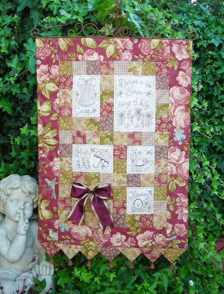 """""""Simple Things"""" by Sally Giblin of The Rivendale Collection.  Verse reads: Delight in the simple things of life... Finished wallhanging size: 27½"""" x 18""""  #TheRivendaleCollection stitchery, appliqué and patchwork patterns. www.therivendalecollection.com.au"""