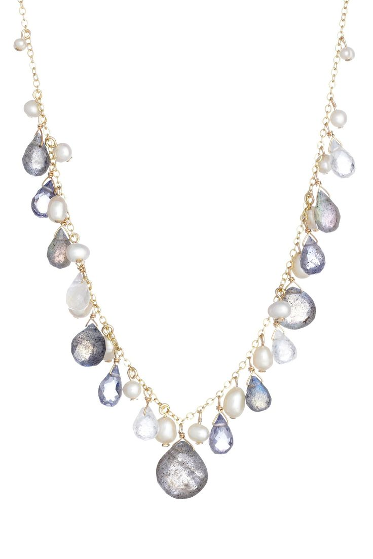 Freshwater Pearl, Labradorite, Iolite Moonstone Necklace Gorgeous  So  Versatile And Delcate