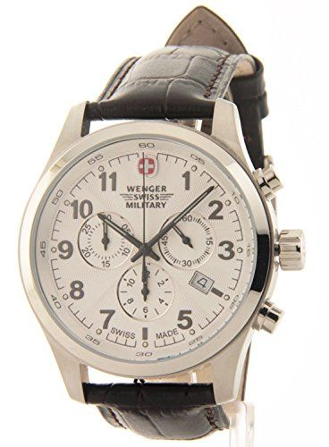 Attractive and highly functional, this WENGER SWISS MILITARY chronograph watch features a cool round white face with 3 eyes, date window, luminous hands and