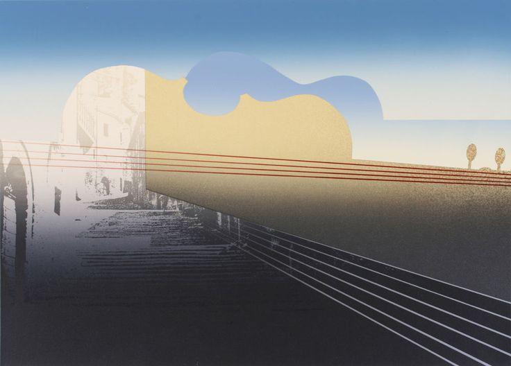 RICHARD DAVIES (b.1944) Surrealist Serigraph / Paganini Violin - Caprice No.4 #Surrealism