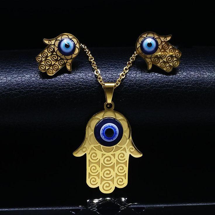 Gold Plated Blue Evil Eye Jewelry Set Turkish Jewellery Fatima Hand Stainless Steel Jewelry Sets Women conjuntos de joyas N68293 //Price: $11.98 & FREE Shipping //     #hairextension #style #beauty #woman #love