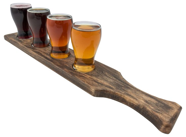Beer Flight Set, Beer Paddle with Mini Pub Beer Tasting Glasses. Perfect Home Bar Taste Testing Set For Craft Beer. Hand Made In the USA. (1, Classic Brown)