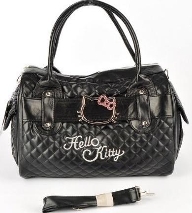 Bolsa negra con carita de hello kitty
