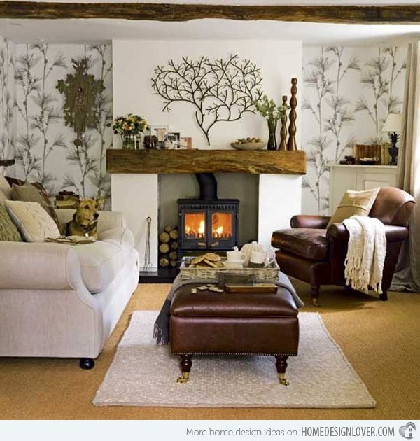 Warm browns and natural greens give this living room a rustic, natural feel.  love the little dog too! :-)