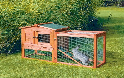 TRIXIE Pet Products Rabbit Hutch with Outdoor Run, X-Small TRIXIE Pet Products Rabbit Hutch with Outdoor Run, X-Small Trixie's Rabbit Hutch with Outdoor Run is ideal for single and smaller breed rabbits, as well as guinea pigs. The two-story design has a retreat area on the upper level. It has both a hatch and sliding door to give owners the option to restrict access as needed. The non-slip ramp allows your pets to roam inside and outside, upstairs and downstairs, in the sun or in t..