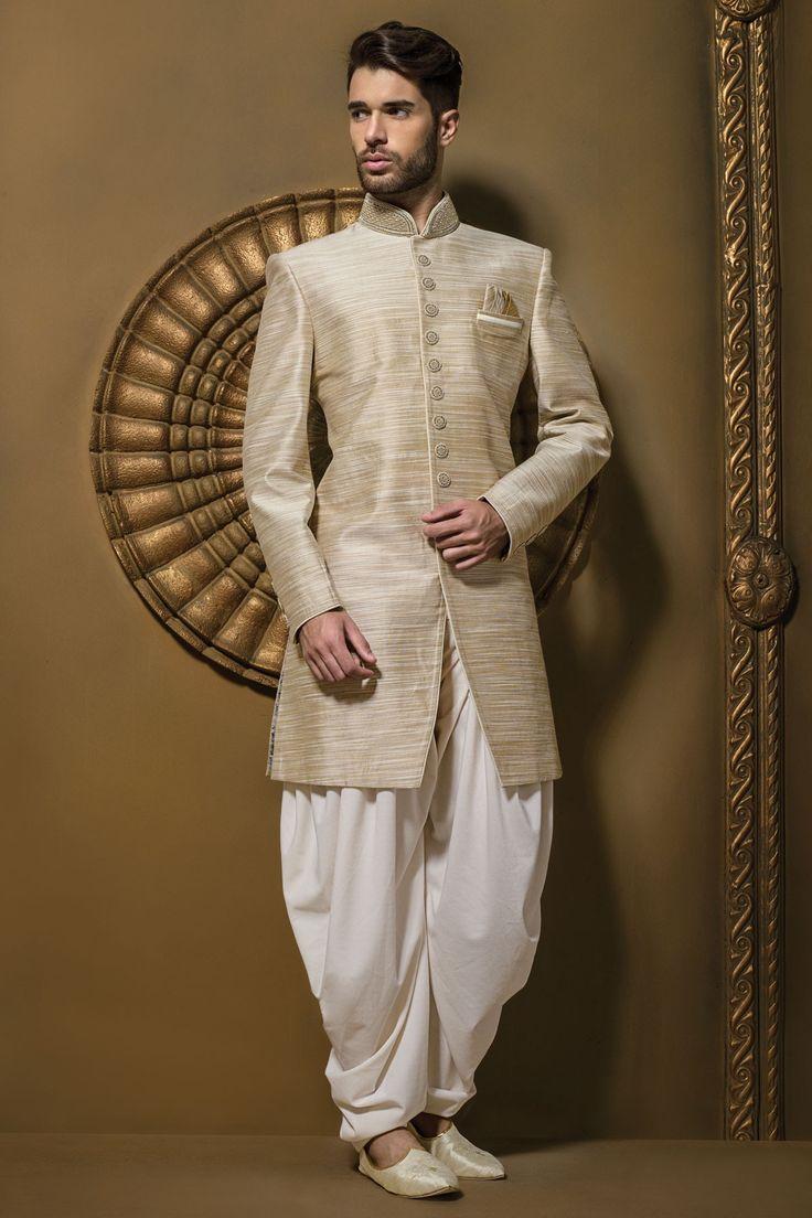 #Brown & #cream jute silk resplendent #jodhpuri #sherwani with full sleeves & dhoti pants -IW346
