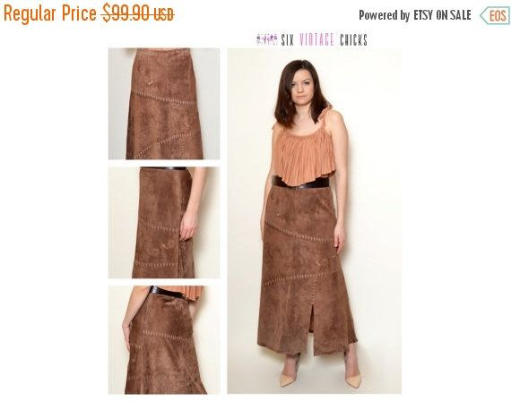 New Years 30% off Vintage Leather Skirt/ 90's classic maxi skirt/ Simple, country style skirt/ Size 40/L/ Free Shipping, Gift Idea For Her by SixVintageChicks on Etsy