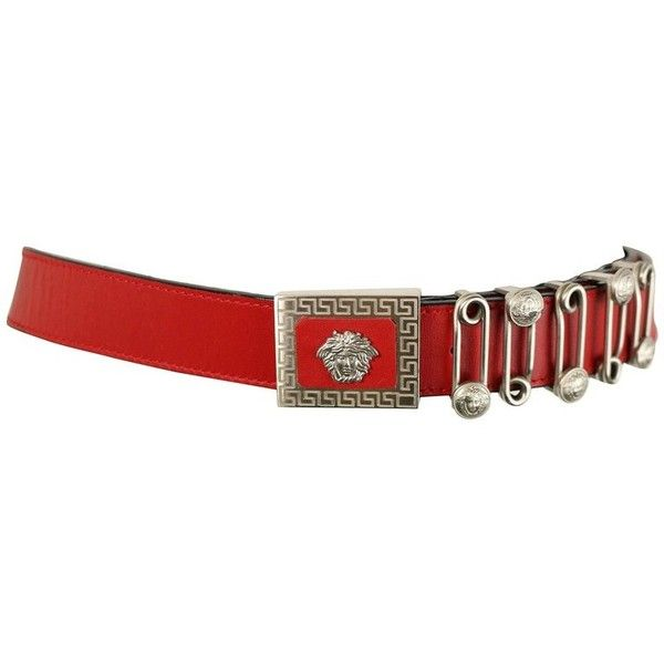 Preowned Gianni Versace Red Leather Silver Medusa Pin Belt ($1,188) ❤ liked on Polyvore featuring accessories, belts, acc, red, leather belt, 100 leather belt, vintage silver belt, silver belts and real leather belts