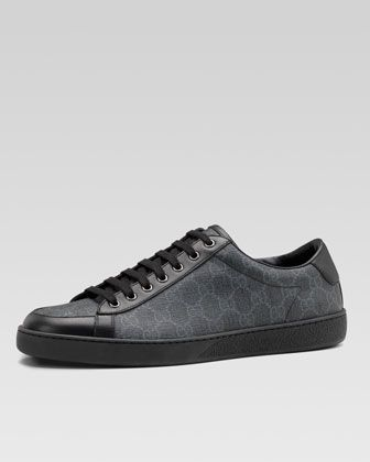 gucci shoes black and white. brooklyn gg supreme fabric lace-up sneaker, black by gucci at neiman marcus. shoes and white a