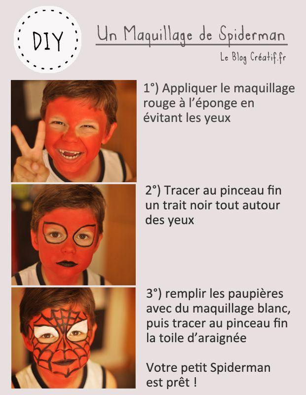 Comment faire un maquillage Spiderman, tutoriel en image   #diy #MaquillageEnfant #Carnaval #maquillage #Spiderman