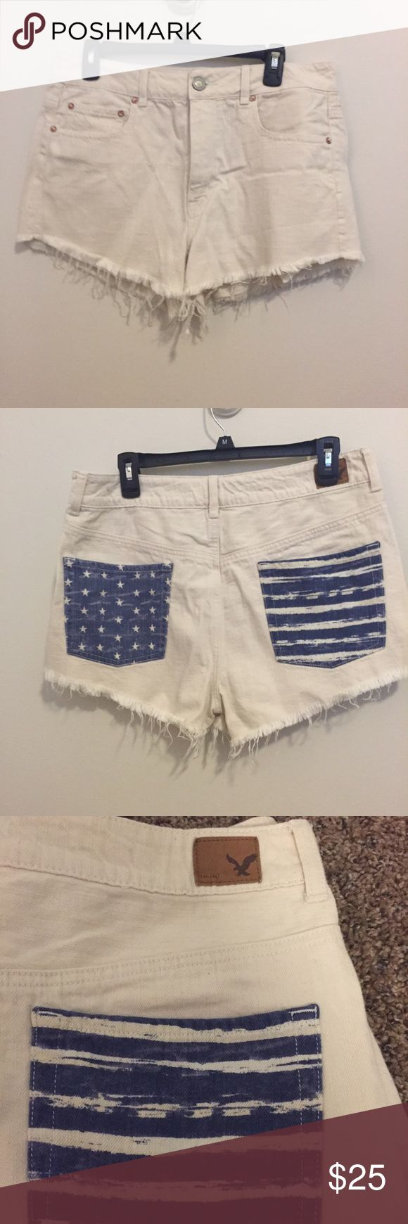 American Eagle USA Shorts White denim cutoff shorts. Gently worn, perfect condition. Make me an offer :) American Eagle Outfitters Shorts Jean Shorts