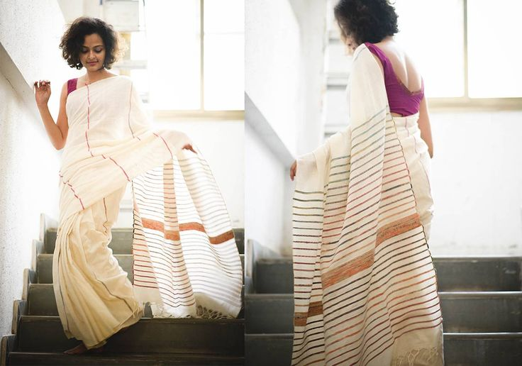 Khesh Cotton Sarees - Off White Khesh By Suta - Pc - 16180 - 2