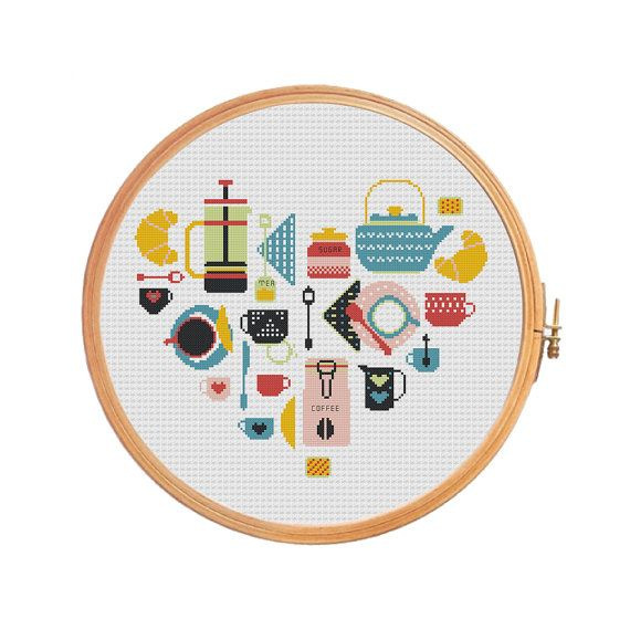 Sampler Kitchen: Coffee and Tea  cross by PatternsCrossStitch