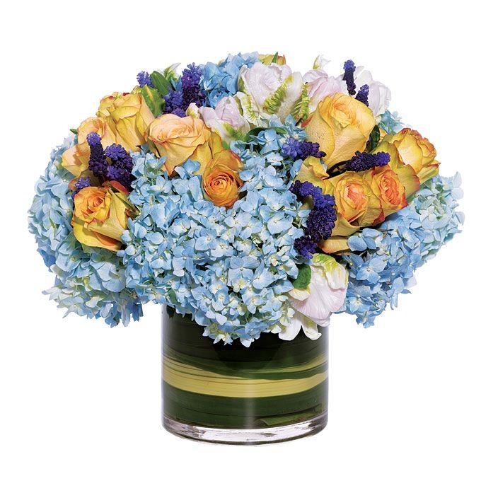 Preppy Wedding Centerpiece of Blue Hydrangeas - Wedding Flowers