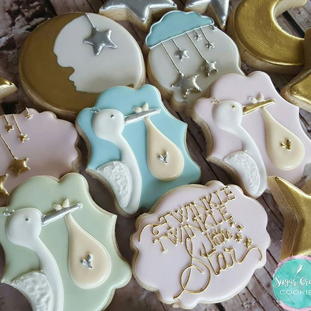 Gender reveal cookies! Stork design from the amazing @bambellacookies #stork…