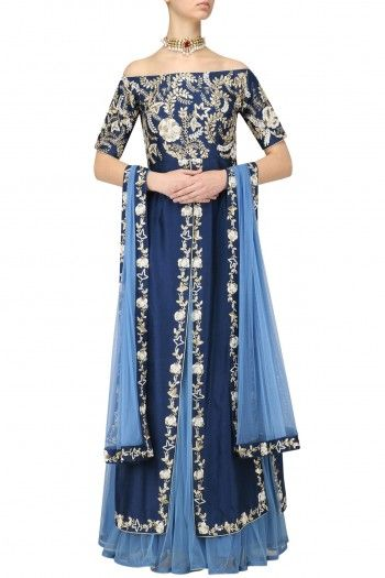 Saumya and Bhavini Modi Sapphire Off-Shoulder Long Panelled Kurta and Lehenga Set #happyshopping #shopnow #ppus