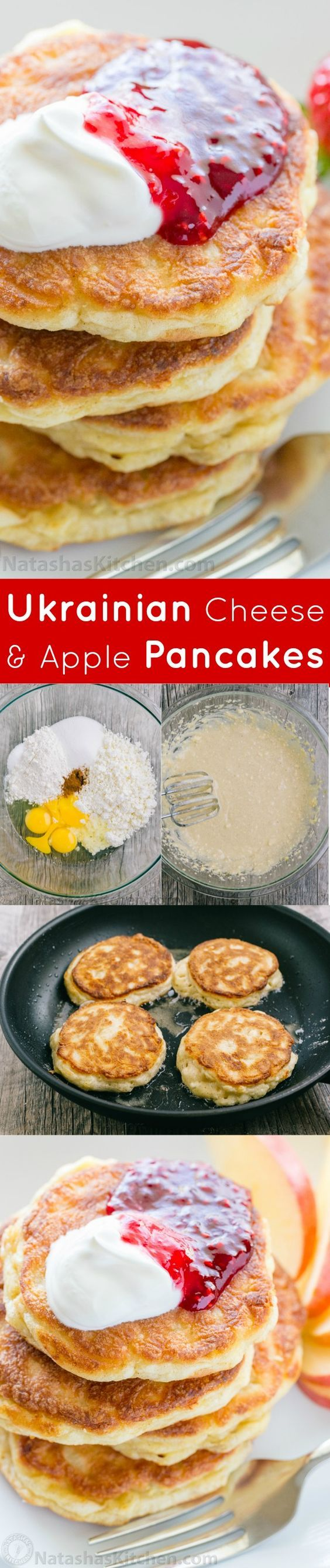Apple and cheese pancakes are so light and fluffy. Serve these Ukrainian cheese pancakes with jam and sour cream for an unforgettable breakfast!: