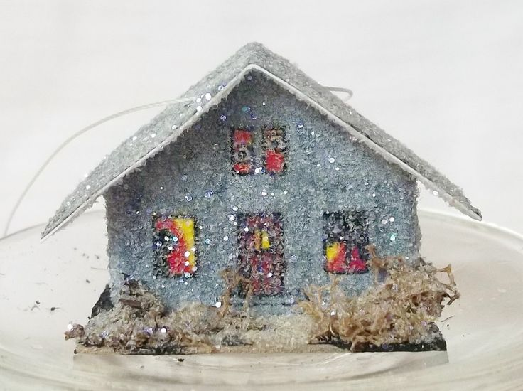 Vintage Retro Putz Style Teeny Miniature Grewsome Gray Haunted Spook House Glitter Sugar Halloween Village Feather Tree Ornament by TheUglyDuckling1962 on Etsy