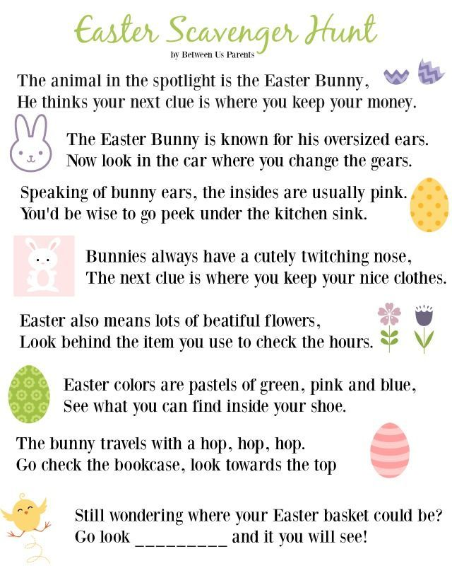 Easter Scavenger Hunt Clues - perfect for big kids, a nice alternative to an egg hunt or just for adding a bit of fun to finding their Easter Basket