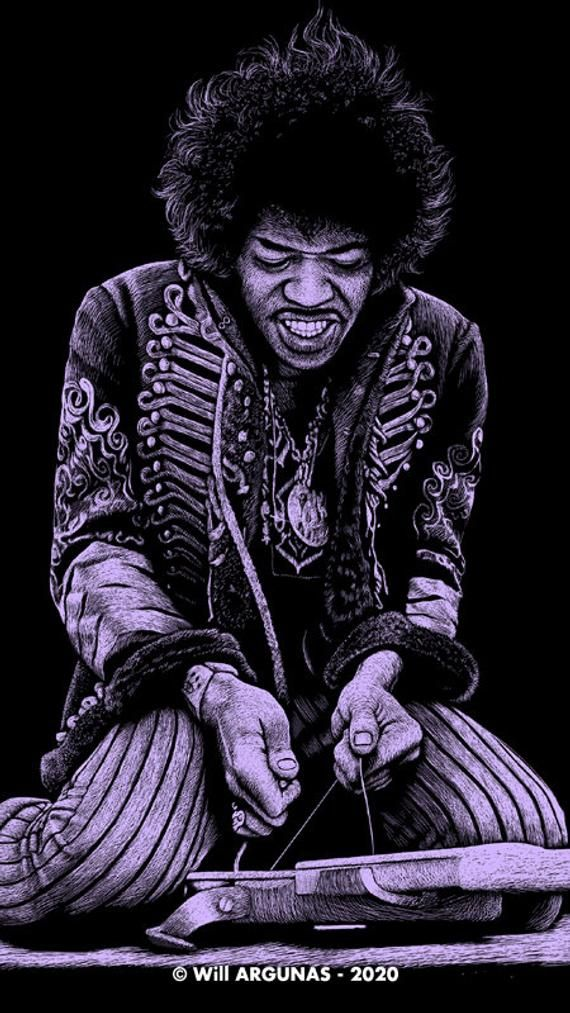 Phone Wallpaper Download Jimi Hendrix By Will Argunas Art Etsy In 2021 Jimi Hendrix Hendrix Phone Wallpaper