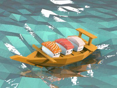 Sushi boat by Jeff Chang via dribbble