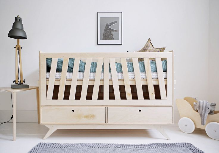 NEST customized handmade plywood baby crib / movable levels of mattress and side walls / scandinavian design // gift for new parents by WoodRepublicPL on Etsy https://www.etsy.com/listing/251067504/nest-customized-handmade-plywood-baby