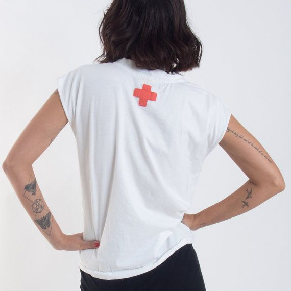 Check out White Muscle Tee Shirt with Red Cross // Women Casual Top on annakshop