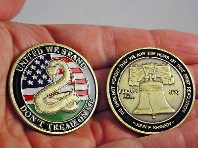 Don't Tread on Me Challenge Coin - Gadsden Flag, collectible coin. USA coin