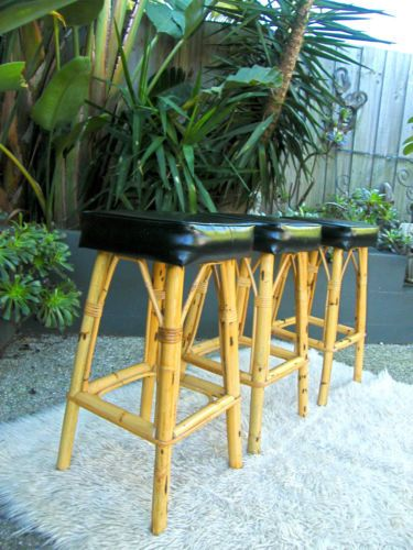 1960s-BLACK-VINYL-TIMBER-BAR-TIKI-TRIO-CANE-BAMBOO-BAR-STOOLS-BLACK-SEAT-RETRO