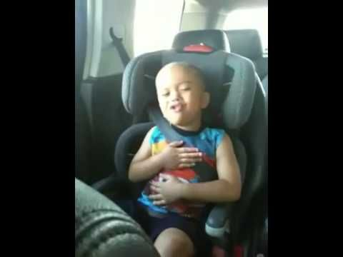 little kid singing baby by Justin Bieber .. So funny how he gets into it