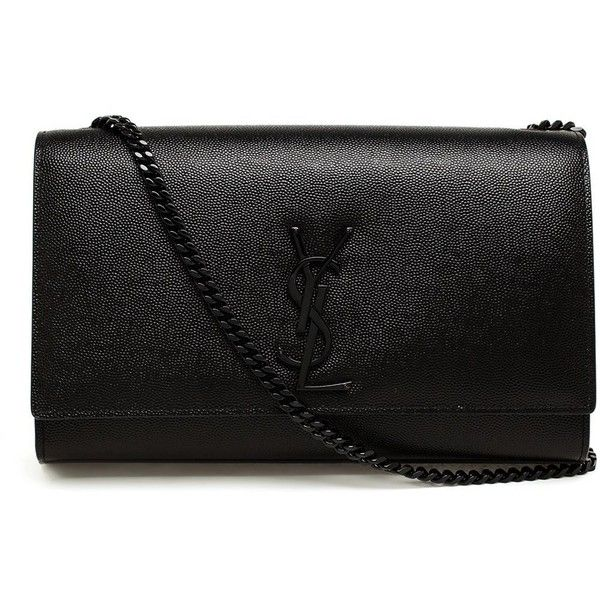 Saint Laurent 'Monogram' shoulder bag (593.620 HUF) ❤ liked on Polyvore featuring bags, handbags, shoulder bags, black, leather shoulder bag, black evening shoulder bag, monogrammed purses, evening handbags and black handbags
