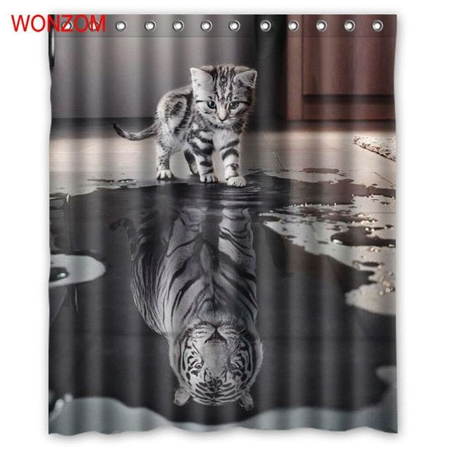 Wonzom Tiger And Cat Shower Curtains With 12 Hooks For Mildewproof Bathroom Decor Modern Animal Bath Waterproof Curtain Gift Review Modern Bathroom Decor Cat Shower Curtain Waterproof Curtain