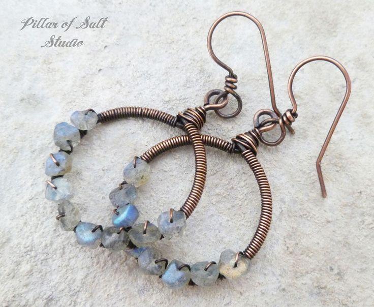 Wire wrapped earrings - Labradorite gemstone - Solid copper earrings - wire wrapped jewelry handmade - wire jewelry - rustic earthy boho by PillarOfSaltStudio on Etsy https://www.etsy.com/listing/546536025/wire-wrapped-earrings-labradorite