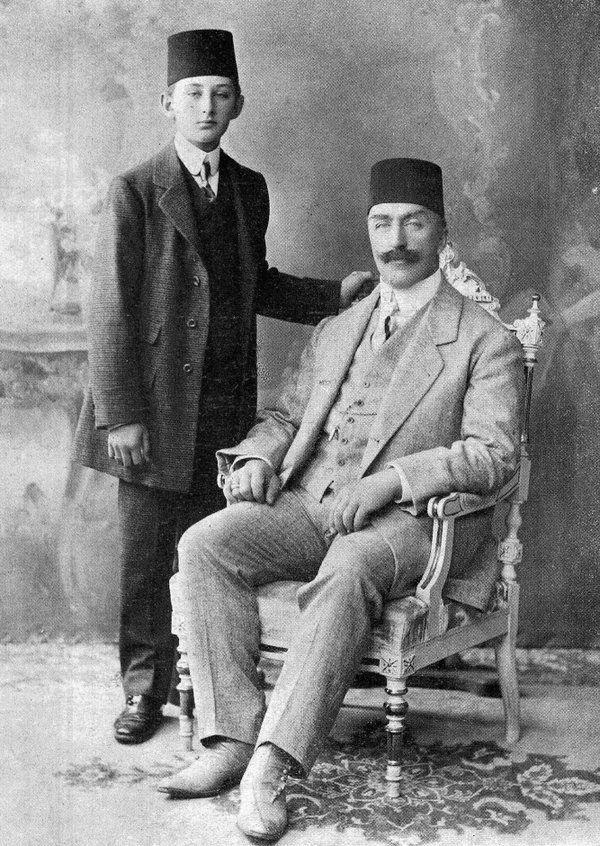 Last Ottoman Caliph, Abdulmecid II with son Omar Farooq Effendi