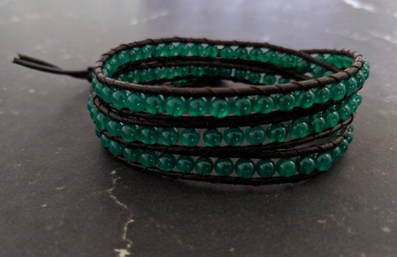 "Wonderful Gem Stone Green Jade with Brown Leather 34/""5 Strands Wrap Bracelet"