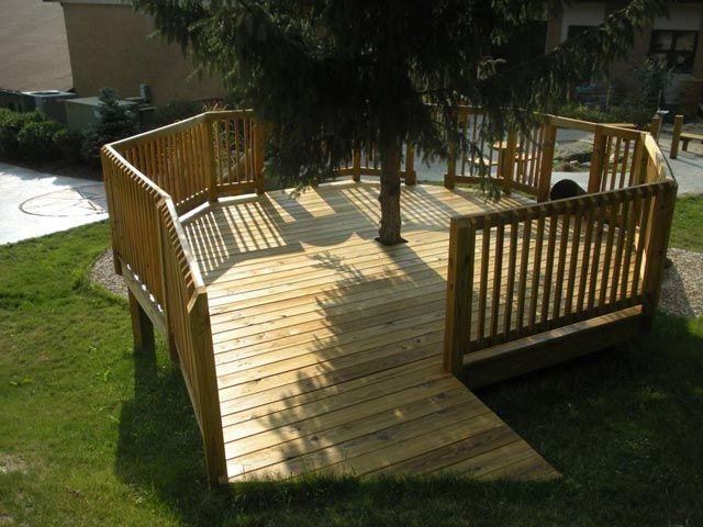 outdoor deck built around sapling